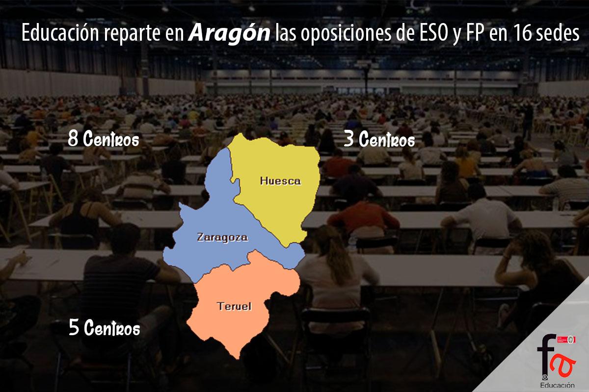 Educación reparte en Aragón las oposiciones de ESO y FP en 16 sedes