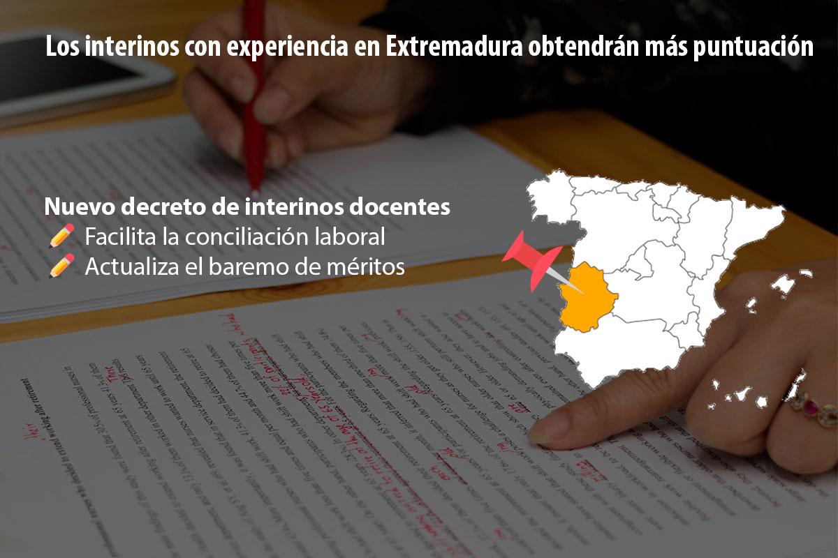 Los interinos con experiencia en Extremadura obtendrán más puntuación