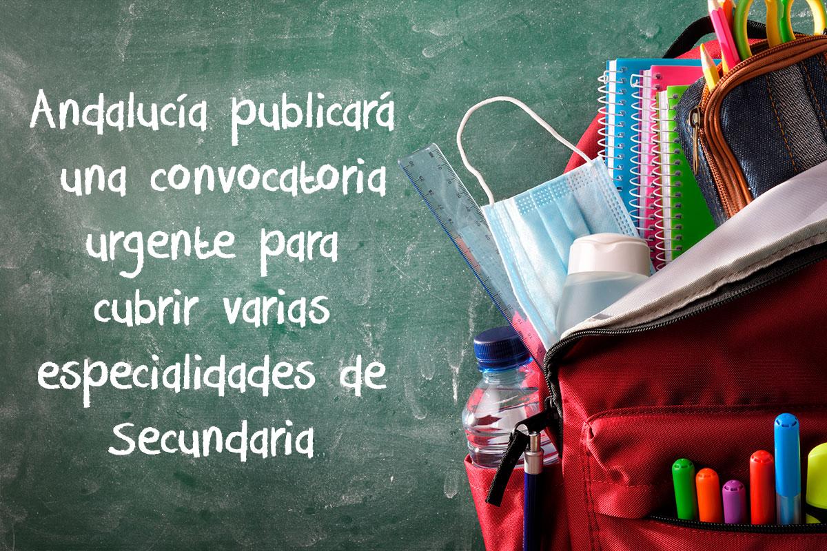Andalucía publicará una convocatoria urgente para cubrir especialidades de Secundaria