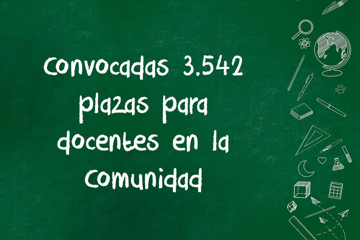 Convocadas 3.542 plazas para docentes en la Comunidad Valenciana