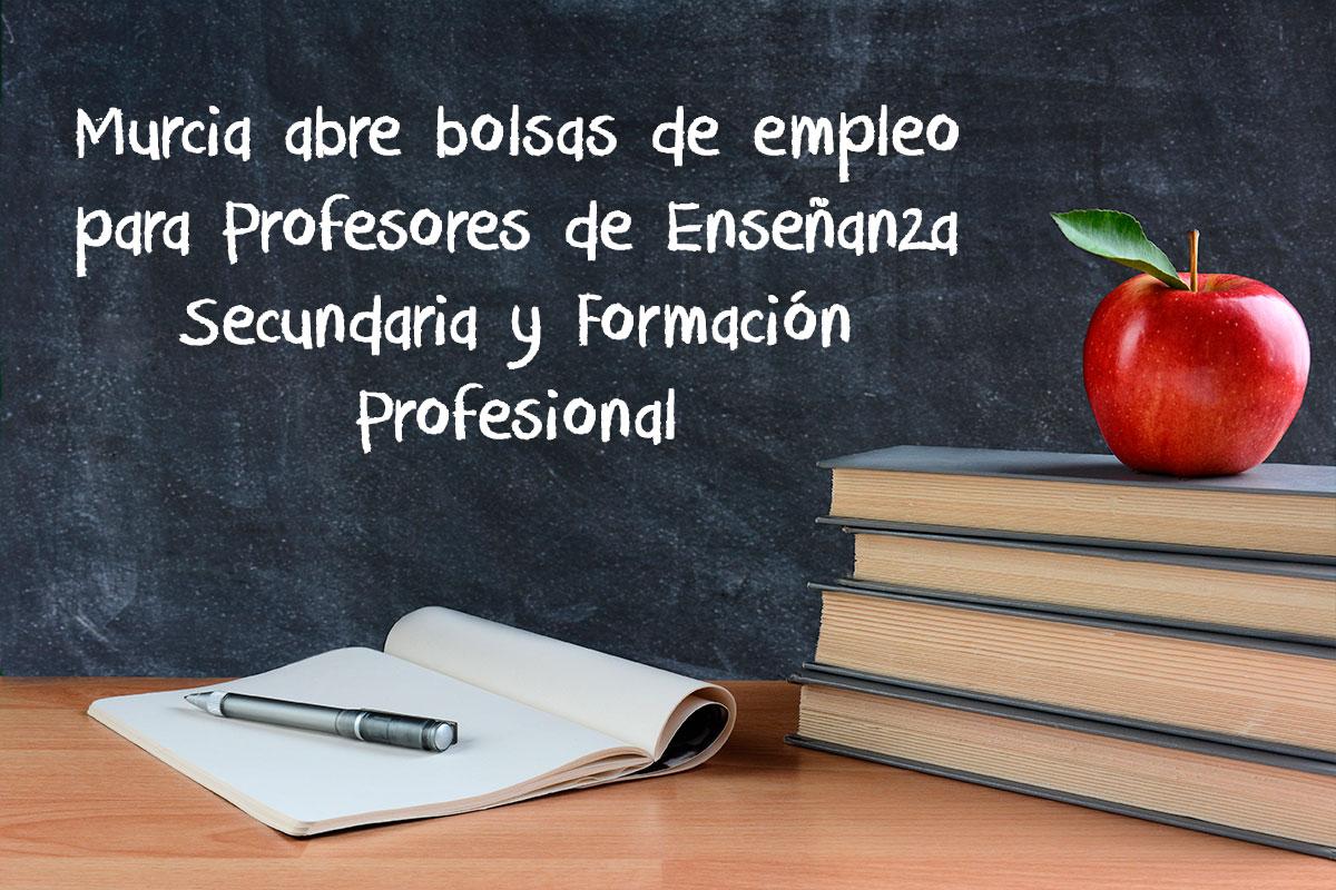 Murcia abre bolsas de empleo para Profesores de Enseñanza Secundaria y Formación Profesional